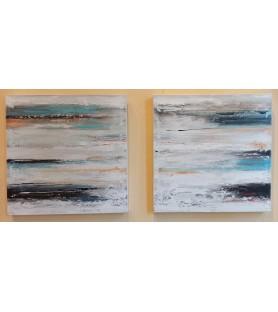 Pareja de abstractos azulados