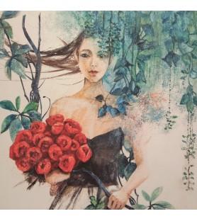 Mujer con flores rojas